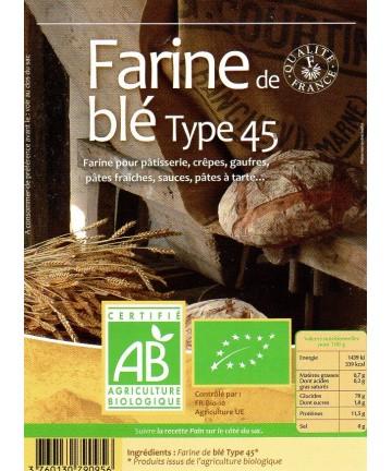 GRAMI'BIO : FARINE DE BLE T45 25kg
